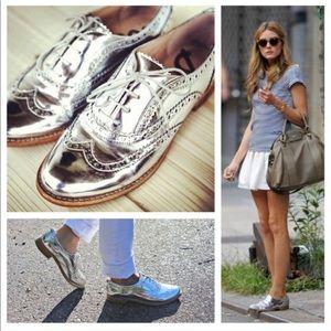 Sam Edelman Silver Oxford Lace-Up Shoes EUC